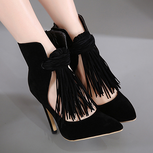 Primavera Outono Suede Pointed Toe Stiletto Super High Zipper Ankle Tassel Moda Botas