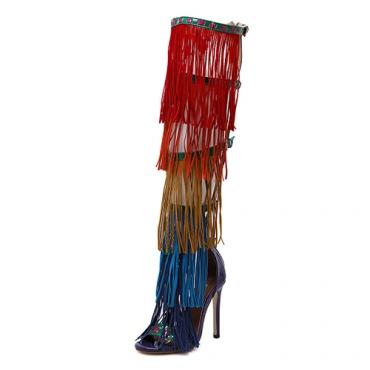 Suede Stiletto Sandálias Super Alta Moda