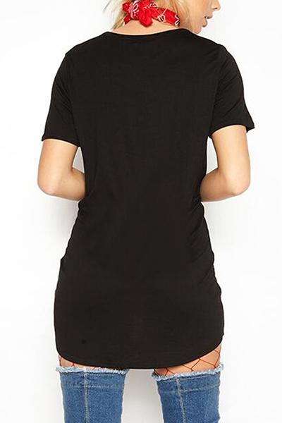 Algodón Moda O cuello media manga Mini vestidos