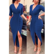 Sexy V Neck Half Sleeves Asymmetrical Blue Polyester Sheath Mid Calf Dress