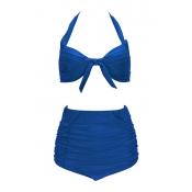 Sexy V Neck High Waist Blue Nylon Two-piece Swimwe
