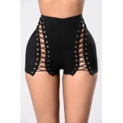 Sexy High Waist Hollow-out Black Polyester Skinny Shorts