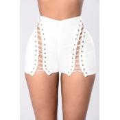 Sexy alta cintura oca-out branco poliéster magro