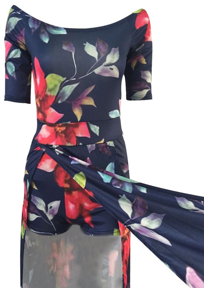 Stylish Half Sleeves Floral Print Qmilch Floor length Dress