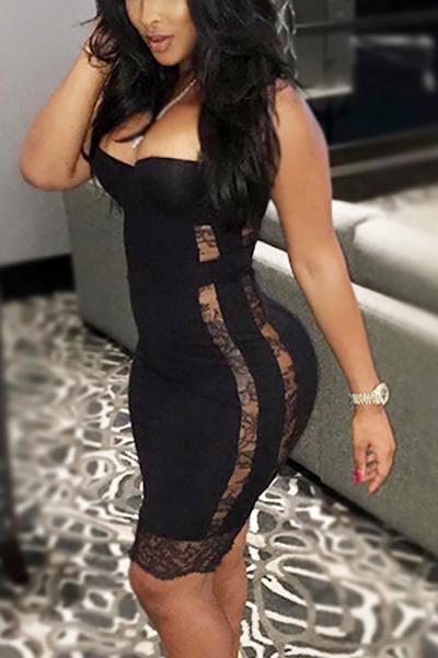 sexy fora do ombro mangas oca -out qmilch vestido preto comprimento da bainha do joelho