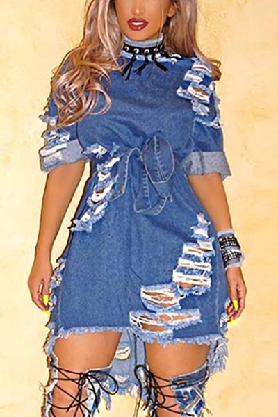 Moda cuello redondo manga corta rotos agujeros mini denim azul vestido