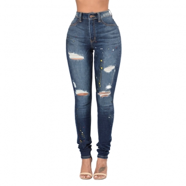 Cotton Solid Button Fly High Regular Pants Jeans