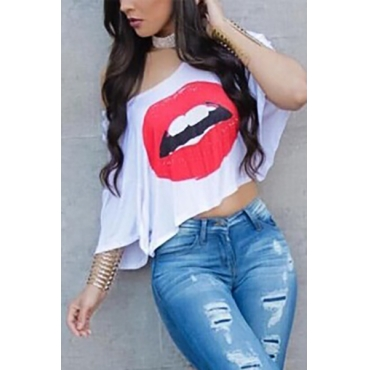 Pullovers Cotton O Neck Half Sleeve Print T-shirt