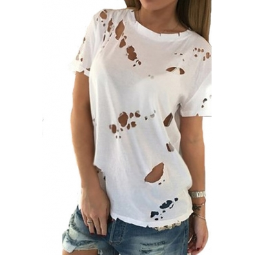 Pullovers Polyester O Neck Short Sleeve Solid T-shirt