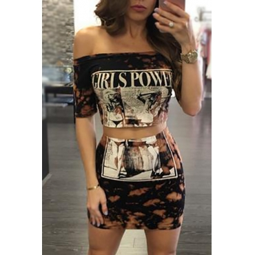 Multi Polyester Skirt Print Bateau Neck Half Sleeve Sexy Two Pieces