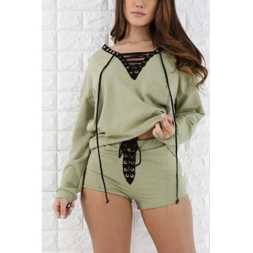Green Polyester Shorts Two Pieces