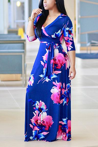 Fashion V Neck Three Quarter Sleeves Floral Print Purplish Blue Healthy Fabric Floor Length Dress