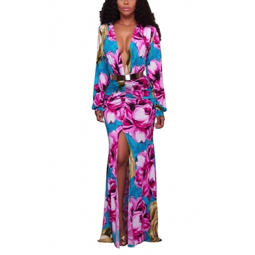 Euramerican Deep V Neck Long Sleeves Floral Print Rose Red Healthy Fabric Floor length Dress(Without Belt)