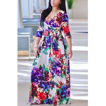 Stylish V Neck Three Quarter Sleeves Printed Healthy Fabric Floor Length Dress(With Belt)