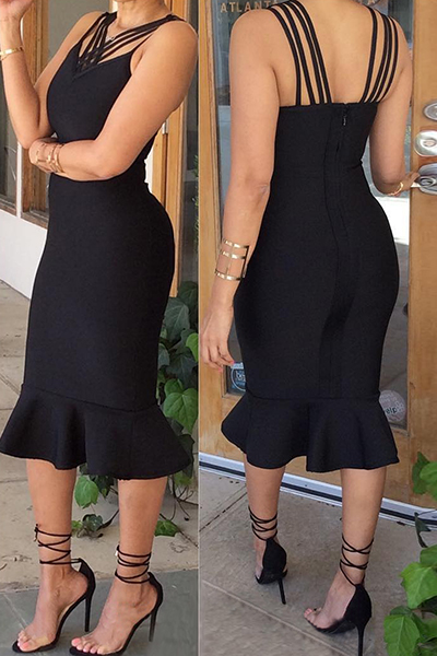 Sexy V Neck Sleeveless Falbala Design Black Healthy Fabric Mermaid Mid Calf Dress