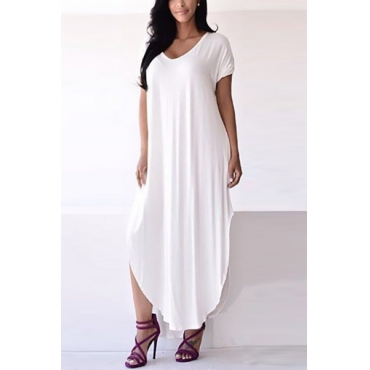 Casual V Neck Short Sleeves Asymmetrical White Polyester Ankle Length Dress
