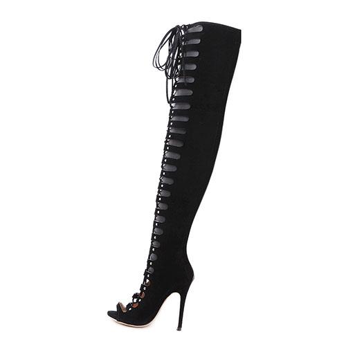 Elegante Redonda Peep Toe Lace-up Oco-out Stiletto Super High Heel Preto camurça sobre as botas de joelho