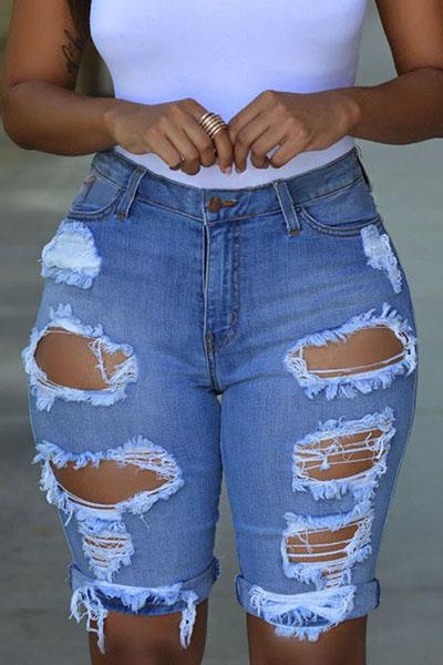 Джинсовая куртка Solid Button Fly High Регулярные джинсы Capris