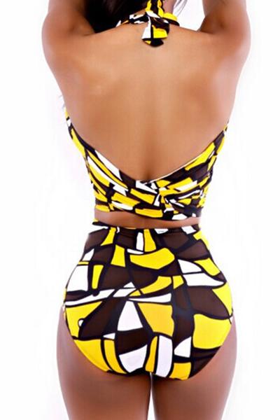 Sexy Bandage Backless Yellow Nylon Two-piece Swimwear