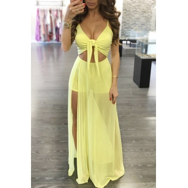 Sexy V Neck Spaghetti Strap Sleeveless Patchwork Yellow Qmilch One-piece Skinny Jumpsuits