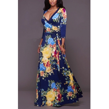 Stylish V Neck Three Quarter Sleeves Floral Print Blue Qmilch Floor Length Dress