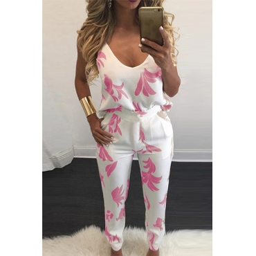 Sexy V Neck Spaghetti Strap Sleeveless Backless Pink Polyester Two-piece Pants Set