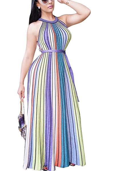 Очаровательная круглая шея рукавов Полосатый печатных Qmilch лодыжки платье