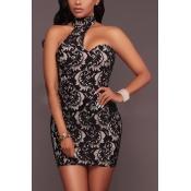 Sexy Mandarin Collar Sleeveless Asymmetrical Black Lace Sheath Mini Dress