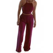 Red Venetian Pants Solid O neck Sleeveless Fashion Two Pieces