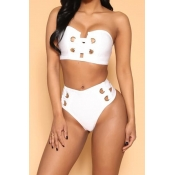 Sexy Hollow-out White Ployester Two-piece Swimwear