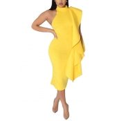 Twilled Satin Fashion Mandarin Collar Sleeveless Asymmetrical Mid Calf Dresses