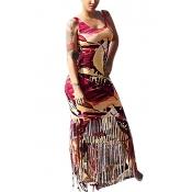 Stylish Round Neck Sleeveless Tassel Design Maroon Qmilch Sheath Ankle Length Dress