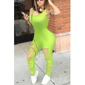 Sexy Round Neck Sleeveless Hollow-out Fluorescein Green Qmilch One-piece Skinny Jumpsuits