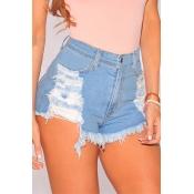 Euramerican High Waist Light Blue Denim Shorts