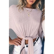 Casual Round Neck Half Sleeves High Split Pink Polyester Shirts