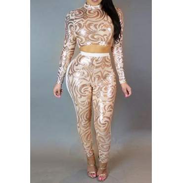 Sexy Mandarin Collar Long Sleeves See-Through White Spandex Two-piece Pants Set