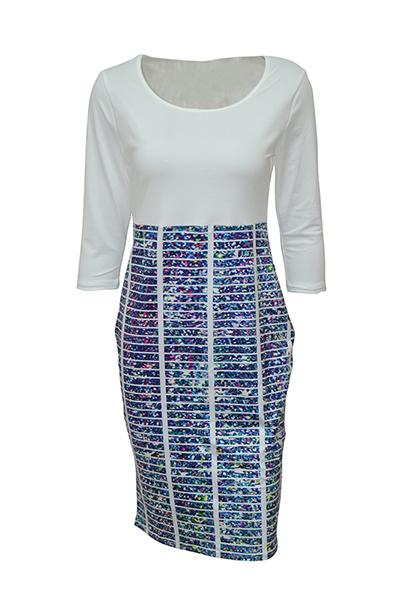 em torno do pescoço três mangas elegantes trimestre patchwork impressa azul polyester vestido de comprimento bainha de joelho