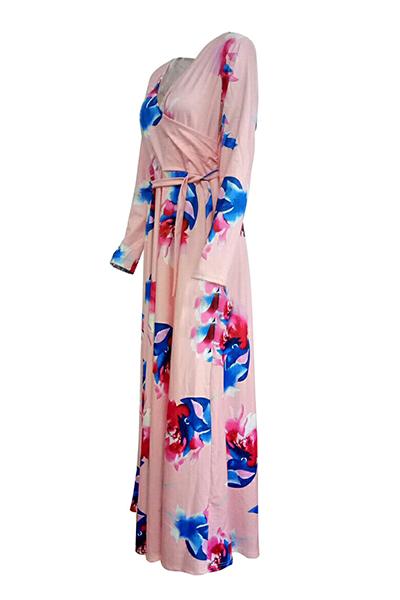 Мода V Шея Три четверти рукава цветочные печати Розовый здоровой ткани длиной до пола платье