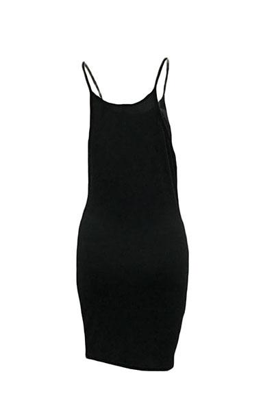 Casual cuello redondo correa de espagueti sin mangas letras impresas Negro vestido de poliéster mini vestido