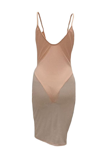 Sexy cuello en V sin mangas ver a través de color rosa poliester vestido de longitud de la rodilla (con revestimiento)