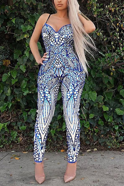 Sexy Spaghetti Straps Sleeveless Printed Blue Qmilch One-piece Jumpsuits