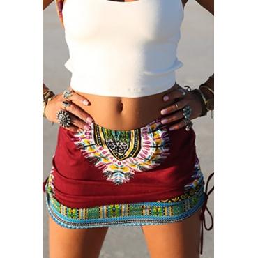 Estilo étnico cintura elástica impresso algodão vermelho mistura mini saias
