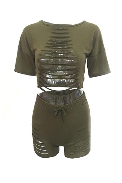Green Cotton Blend Shorts Sólidos O pescoço Manga Curta Sexy Duas Peças