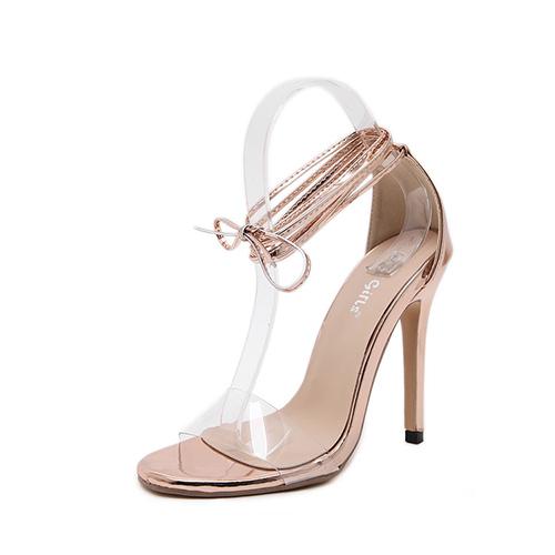 Elegante punto Peep Toe Lace-up stiletto súper alto talón Champagne PU tobillo correa sandalias