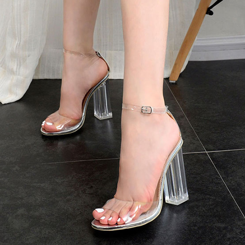 Stylish Point Peep Toe See-Through Chunky Super High Heel Silver Plastic Sandals