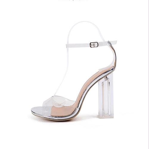 Stylish Point Peep Toe See-Through Chunky Super High Heel Silver Plastic Sandals