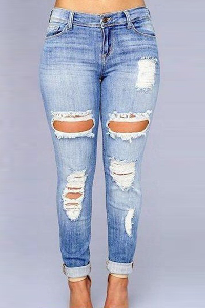 Euramerican alta cintura quebrada buracos azul escuro Jeans Denim