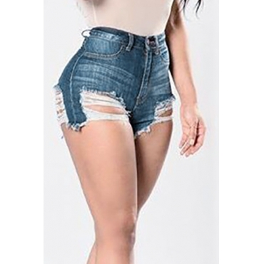 Sexy High Taille Hollow-out Dunkelblauen Denim Skinny Shorts