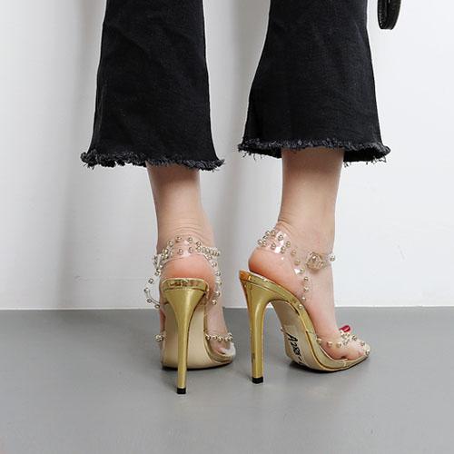 Пластиковые Stiletto супер высокой моды лодыжки ремешок сандалии