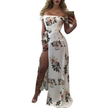 Chiffon Bohemian Bateau Neck Short Sleeve Beach Ankle Length Dresses(Without Belt)